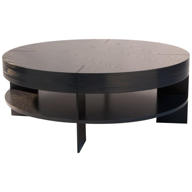 Round Coffee Table With Metal Legs: CT-91S Round Coffee Table With Shelf And Metal Legs By