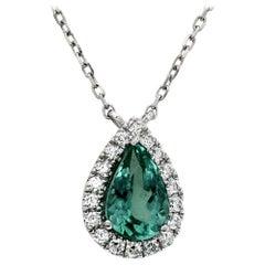 CT Natural Green Paraiba 0.17 Carat Diamonds 14 Karat White Gold Necklace
