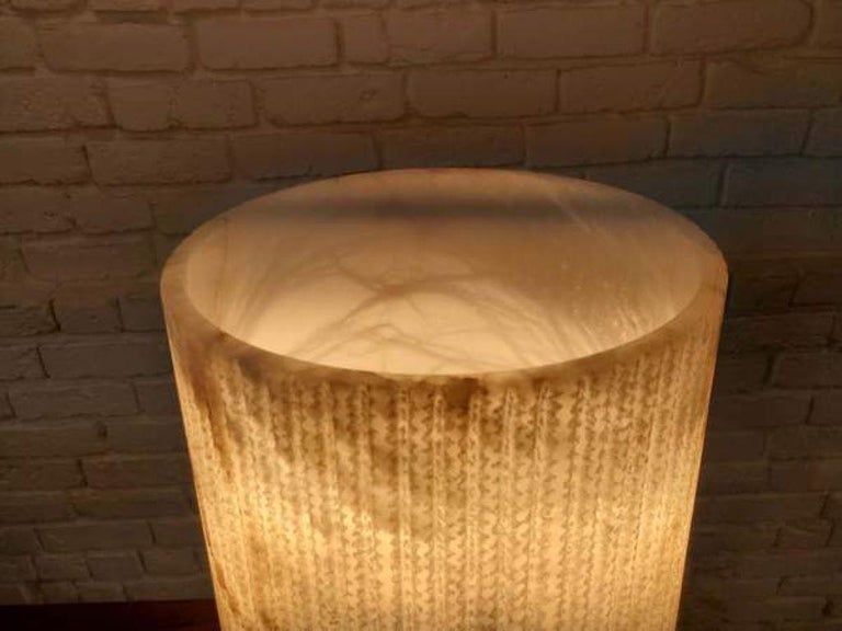 British CTO Lighting Acropolis Table Lamp in White Alabaster with Black Steel 120V For Sale