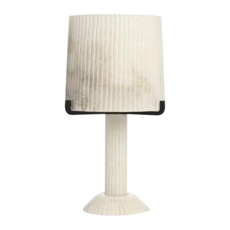 CTO Lighting Acropolis Table Lamp in White Alabaster with Black Steel 120V For Sale