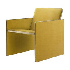 Cuba Armchair Upholstered in Fabric with Edges in Brushed Brass by Dimoremilano