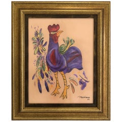 Cuban Artist Mariano Rodriguez Pastel Rooster Drawing, 1980