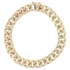 Cuban Chain Bracelet, 14 Karat Yellow Gold Men's Gift