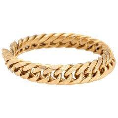 Cuban Link Chain Ring Vintage 18 Karat Yellow Gold Flex Band Fine Jewelry