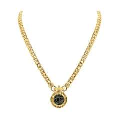 Cuban Link Intaglio Hebrew Coin Medallion Pendant Necklace