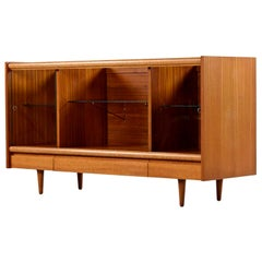 Cuban Mahogany & Glass Display Cabinet Credenza John Keal 'Attr.' Brown Saltman