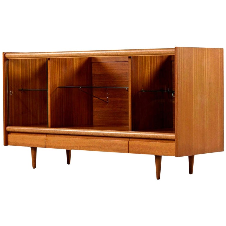 Cuban Mahogany & Glass Display Cabinet Credenza John Keal 'Attr.' Brown Saltman For Sale