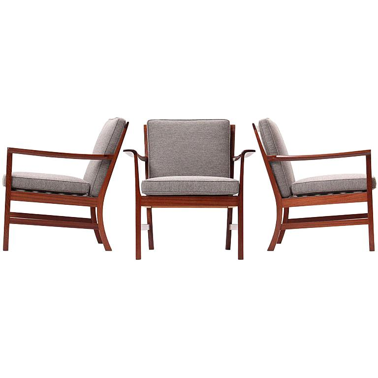 Cuban Mahogany Lounge Chair by Ole Wanscher For Sale