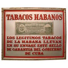 Cuban Tabacco Cigars Advertising Tin Sign, circa 1930-1940