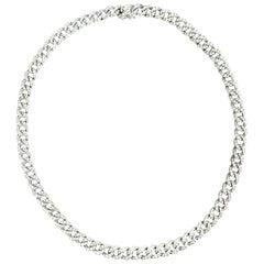 Cuban White 18 Karat Gold Necklace Mande in Italy