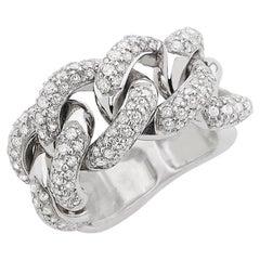 Cuban White Ring 18 Karat Gold Made in Italy