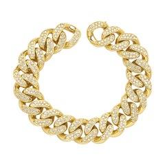 Cuban Yellow 18 Karat Gold Bracelet Made in Italy