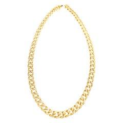 Cuban Yellow 18 Karat Gold Necklace Mande in Italy