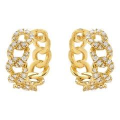 Cuban Yellow Earrings 18 Karat Gold Made in Italy