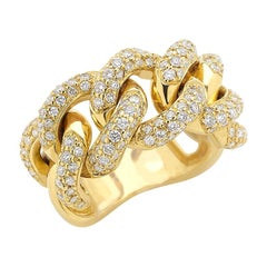 Cuban Yellow Ring 18 Karat Gold Made in Italy