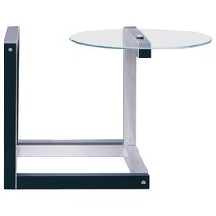 contemporary side table with steel, black wood and glass, cube 01.1 c by barh