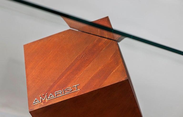 Spanish Cube Essentia Contemporary Design Centre Table, Corten, Glass and White Marble For Sale