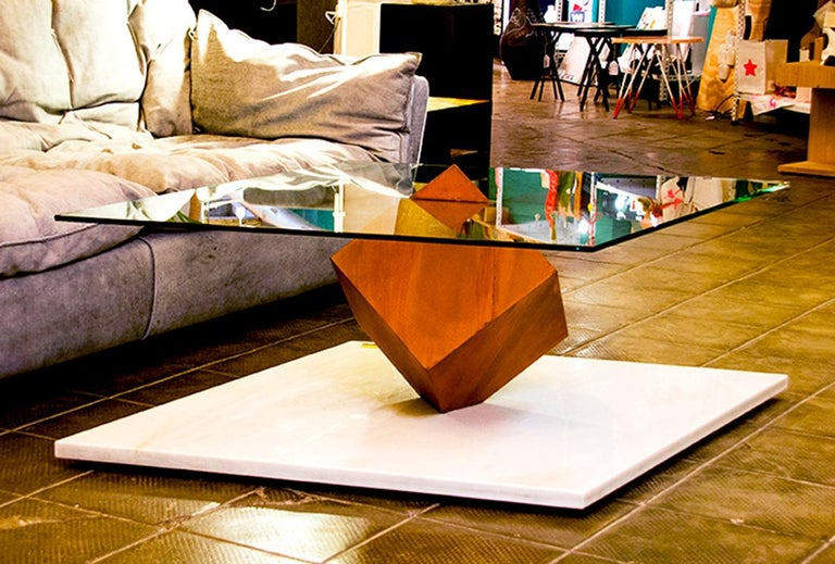 Cube Essentia Contemporary Design Centre Table, Corten, Glass and White Marble In New Condition For Sale In , Brunnthal