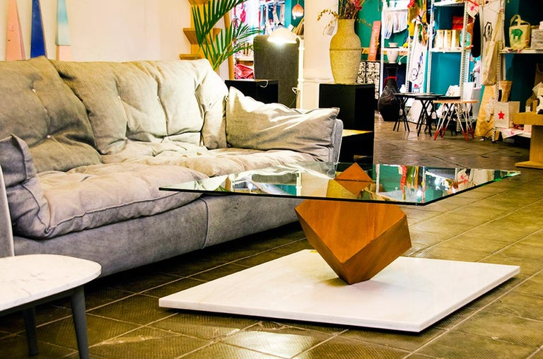 Stainless Steel Cube Essentia Contemporary Design Centre Table, Corten, Glass and White Marble For Sale