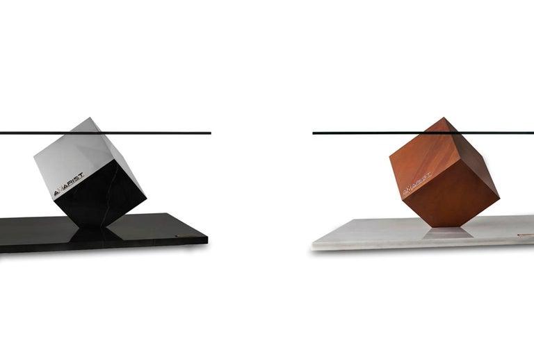 Cube Essentia Contemporary Design Centre Table, Corten, Glass and White Marble For Sale 1