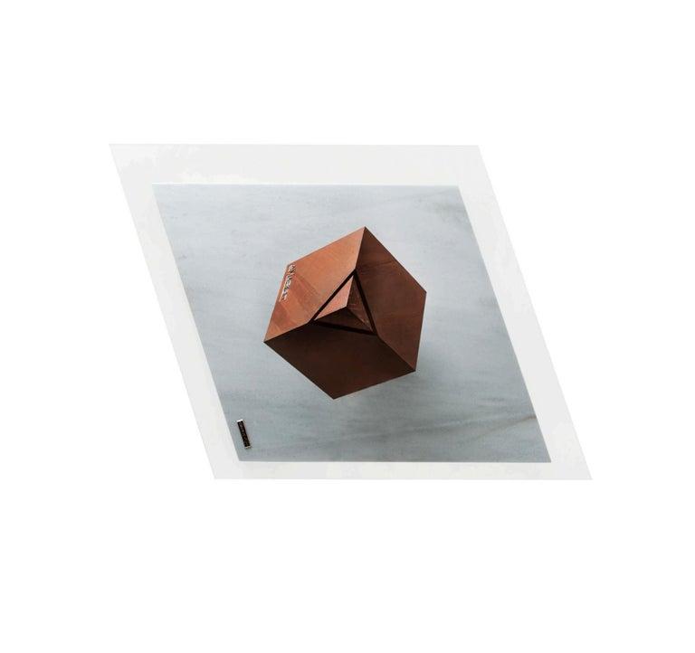 Cube Essentia Contemporary Design Centre Table, Corten, Glass and White Marble For Sale 2