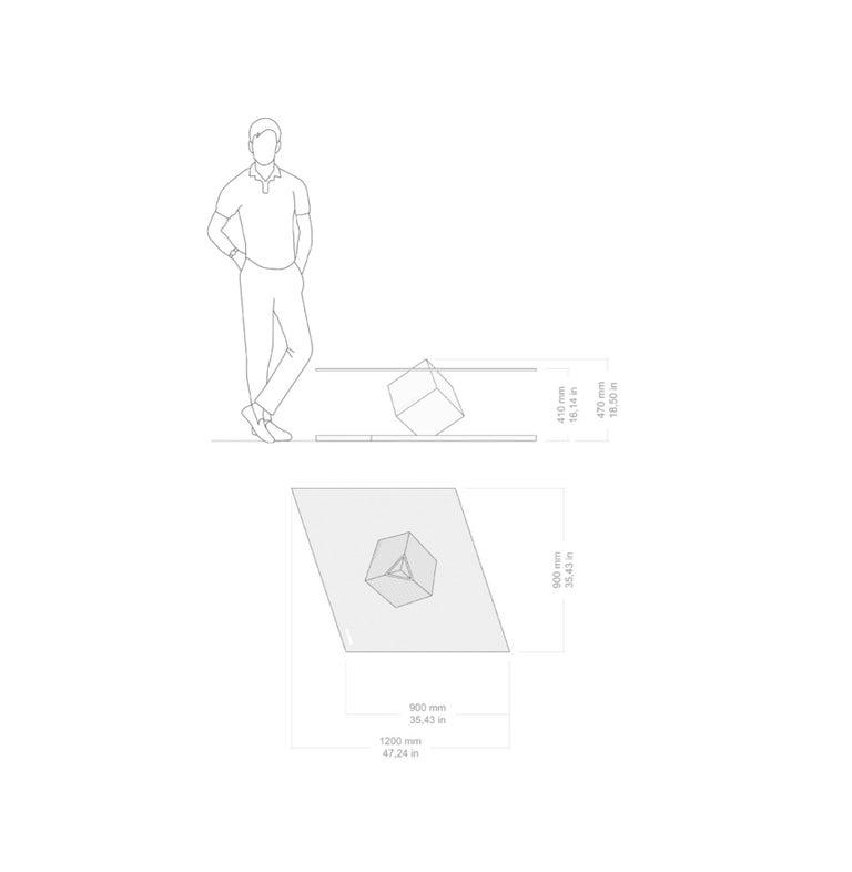 Cube Essentia Contemporary Design Centre Table, Corten, Glass and White Marble For Sale 3
