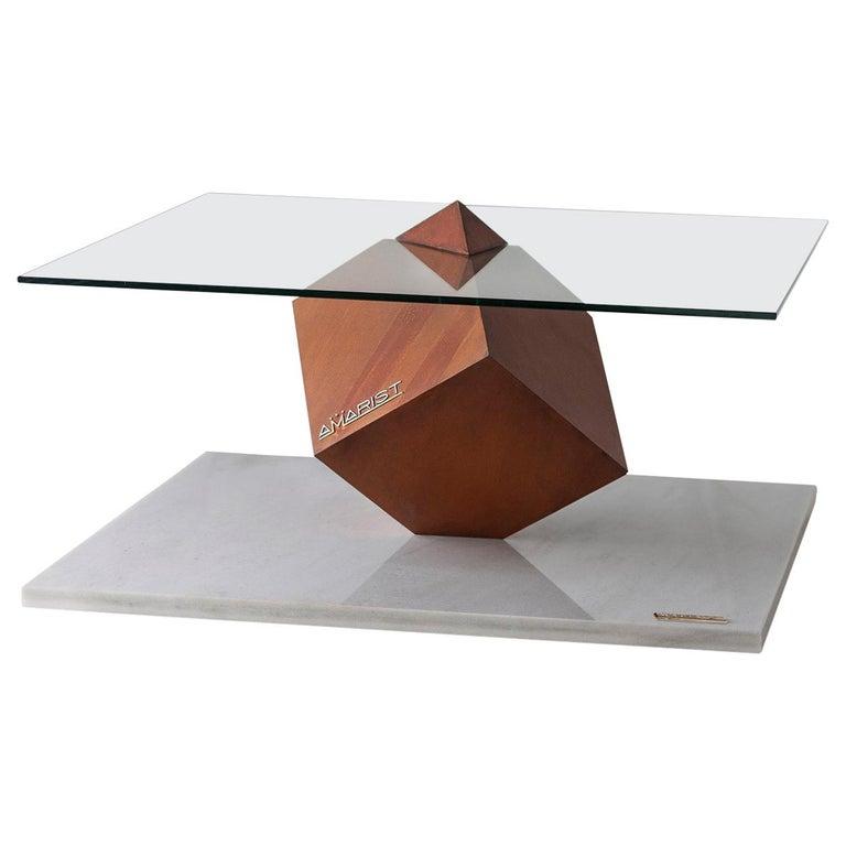 Cube Essentia Contemporary Design Centre Table, Corten, Glass and White Marble For Sale