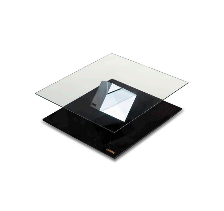 International Style Cube Essentia Contemporary Design Centre Table Steel or Corten and Black Marble For Sale