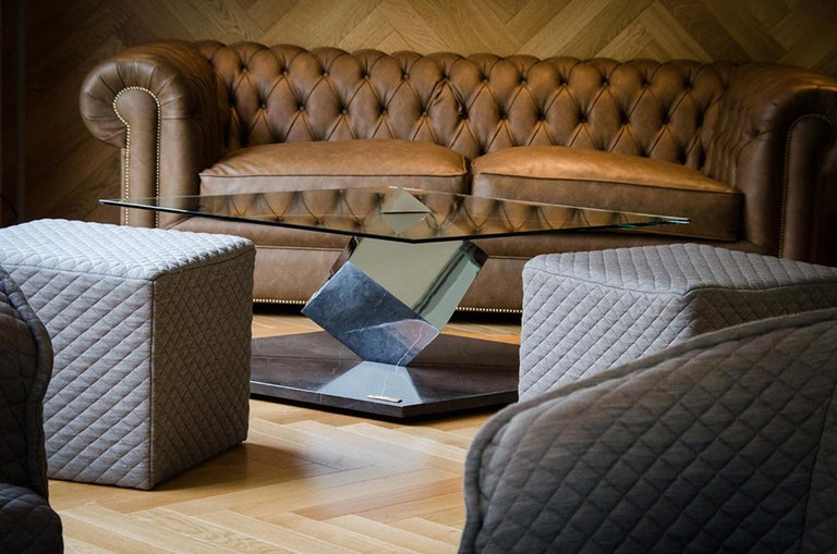 Cube Essentia Contemporary Design Centre Table Steel or Corten and Black Marble For Sale 1