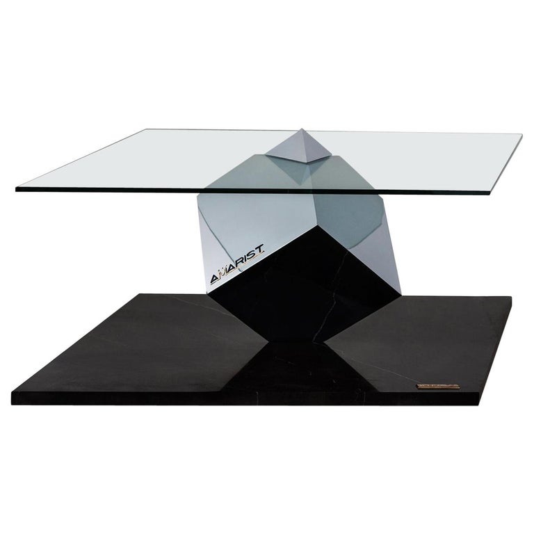 Cube Essentia Contemporary Design Centre Table Steel or Corten and Black Marble For Sale