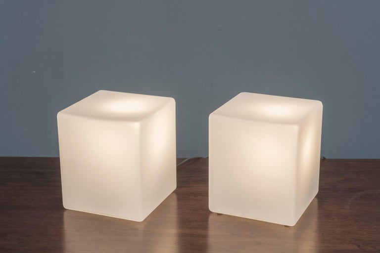 Pair of frosted glass cube form table lamps by Laurel Lamp Company, labeled.