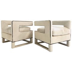 Cube Lounge Chairs in Brazilian Cowhide, Pair