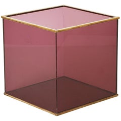 Cube, Magazine Rack Plexiglass and Brass, Italian Design 1970s, Rizzo Style