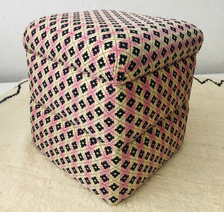 Cube Ottoman, Seat or Bench in Art Deco Style, Compatible Pair For Sale 6