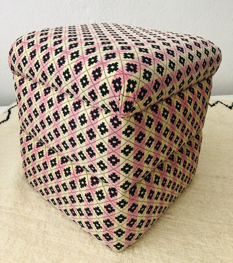 Cube Ottoman, Seat or Bench in Art Deco Style, Compatible Pair For Sale 8
