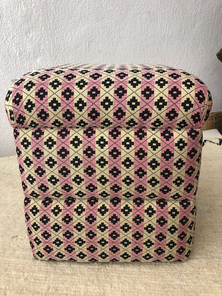Cube Ottoman, Seat or Bench in Art Deco Style, Compatible Pair For Sale 9
