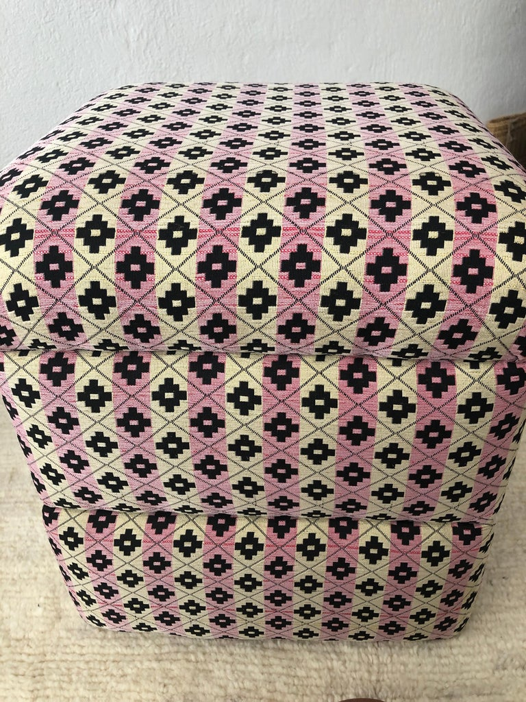 Cube Ottoman, Seat or Bench in Art Deco Style, Compatible Pair For Sale 14