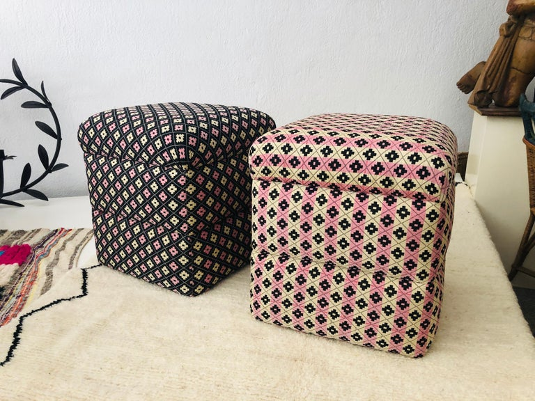 French Cube Ottoman, Seat or Bench in Art Deco Style, Compatible Pair For Sale