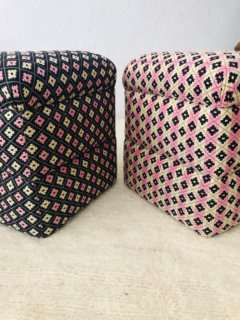 Cube Ottoman, Seat or Bench in Art Deco Style, Compatible Pair In Good Condition For Sale In Stamford, CT