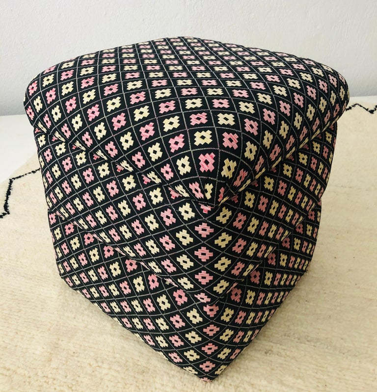 Late 20th Century Cube Ottoman, Seat or Bench in Art Deco Style, Compatible Pair For Sale