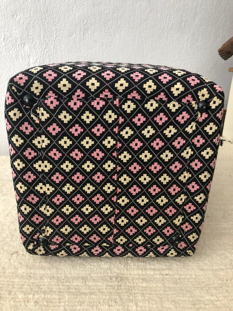 Cube Ottoman, Seat or Bench in Art Deco Style, Compatible Pair For Sale 3