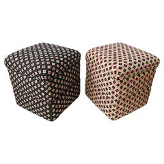 Cube Ottoman, Seat or Bench in Art Deco Style, Compatible Pair