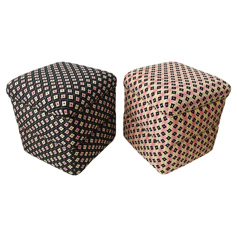 Cube Ottoman, Seat or Bench in Art Deco Style, Compatible Pair For Sale