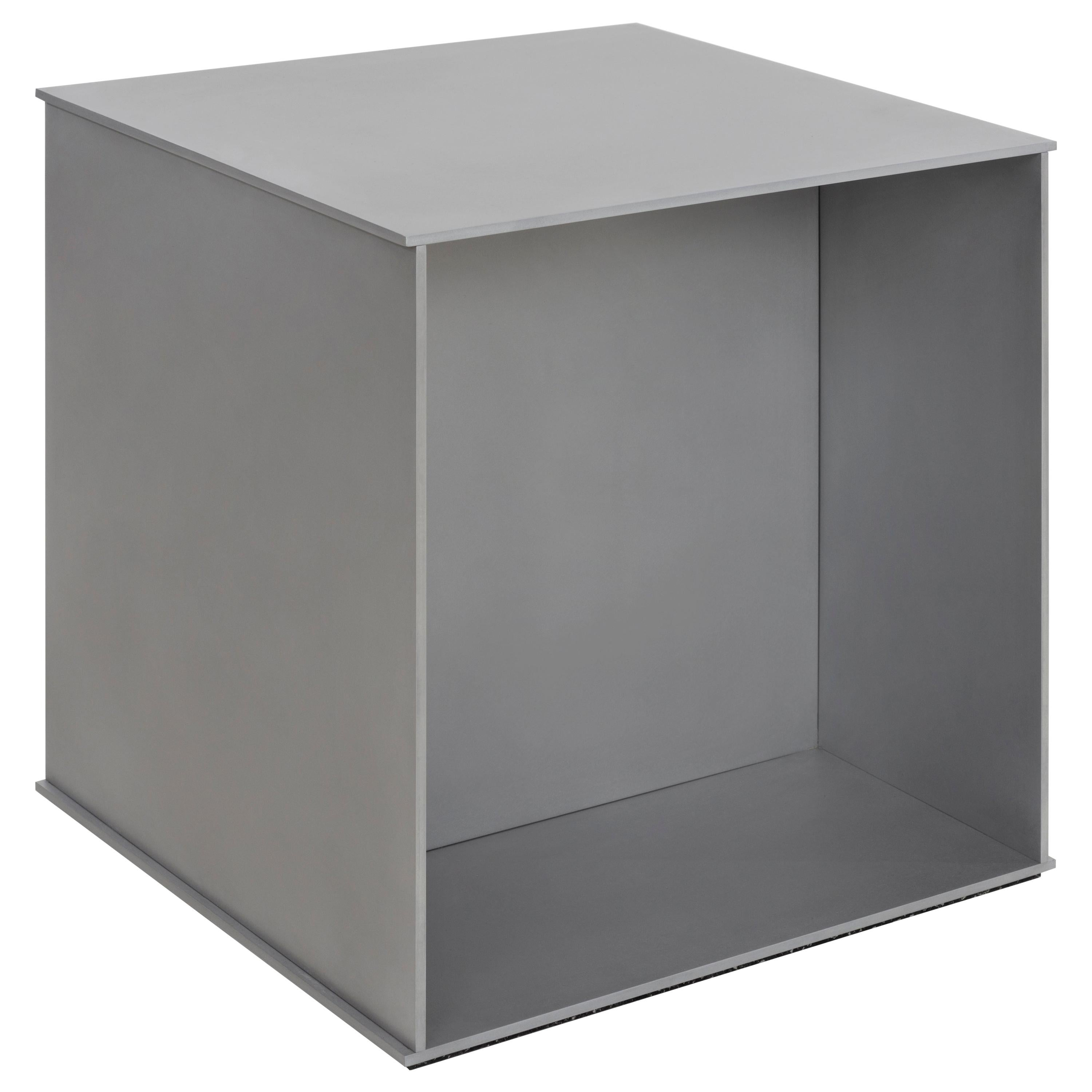 Cube Side Table in Waxed Aluminum Plate by Jonathan Nesci