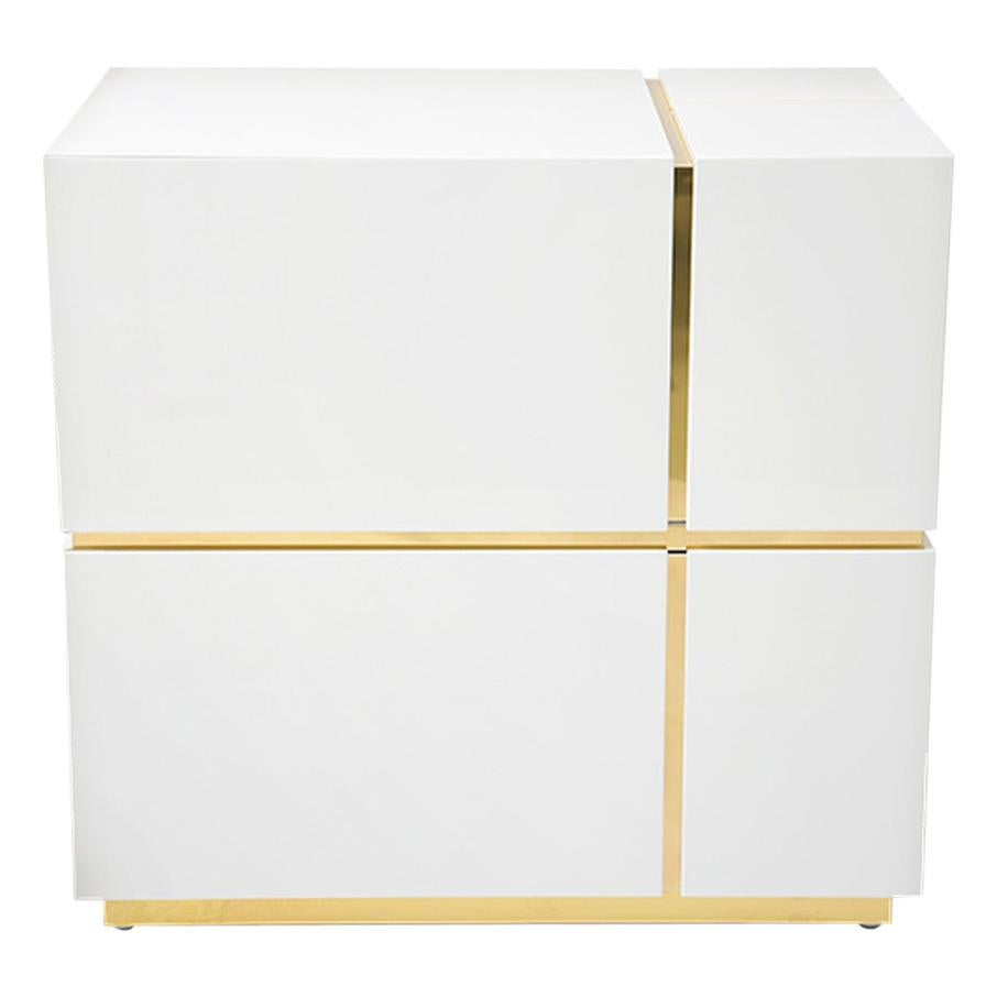 Cube White High Gloss Nightstand with Large Drawers for Modern Bedroom