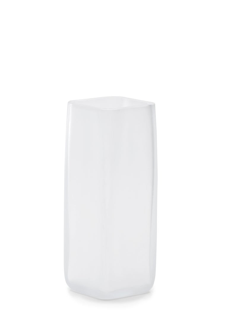 21st century LPWK CUBES vase Frosted Murano glass various colors. Designed by LPWK, Cubes is a collection comprising bowls, minicontainers and a vase made of frosted Murano glass, in which lines – expressly inspired by the cube – find new harmony