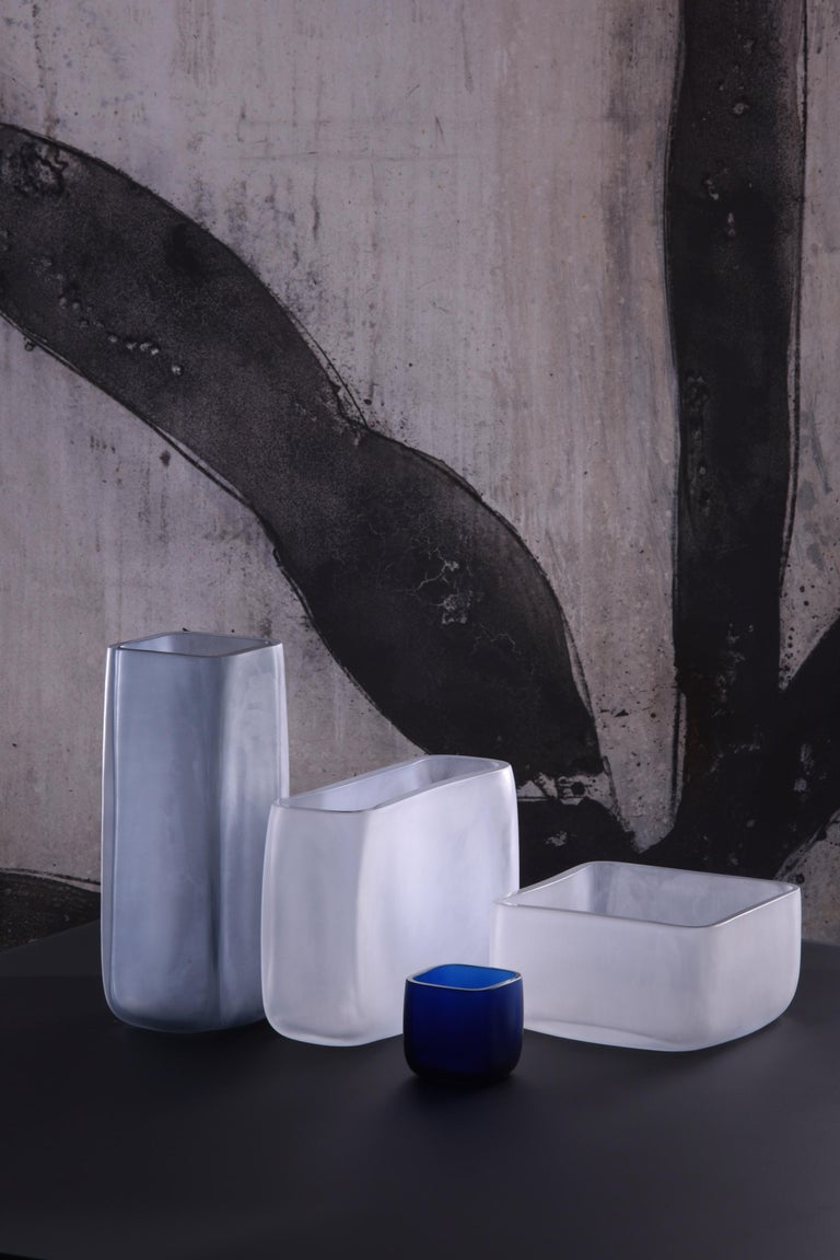 Italian 21st Century LPWK Vase Frosted Murano Glass Various Colors For Sale