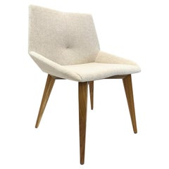 Cubi Dining Chair in Teak with Oatmeal Fabric Seat