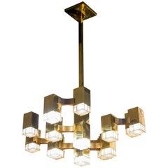 Cubic Gold Gaetano Sciolari Chandelier, Italy, 1970