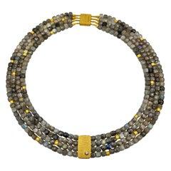 Cubic Labradorite Zircone Multi-Strand Beaded Hand Made Artist Design Necklace